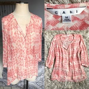 NWOT CAbi Silk Emerson Blouse - Peach